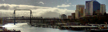 Photo of the newly renovated Murray Morgan Bridge as viewed from the Puget Sound Institute offices in Tacoma.