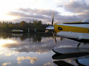 The float plane prepares to take off. Photo by Jeff Rice.