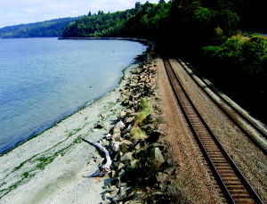 Shoreline armoring along railroad. Photo: NOAA.