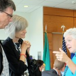 Puget Sound Institute Director Dr. Joel Baker and UW College of the Environment Dean Lisa Graumlich chat with U.S. EPA Administrator Gina McCarthy during the lunch break.