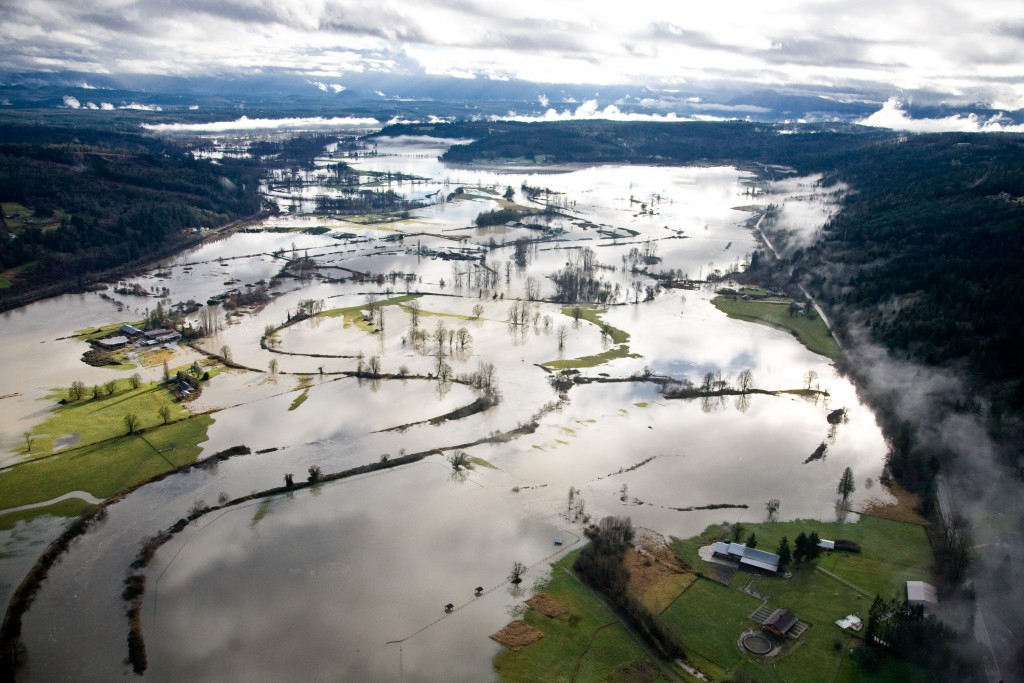 Aerial view of flooding of the Snoqualmie River Valley in December 2010. Photo: King County