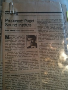 "Photograph of a 1985 Seattle Times editorial calling for the creation of a Puget Sound Institute ""to serve as a focal point for research."""