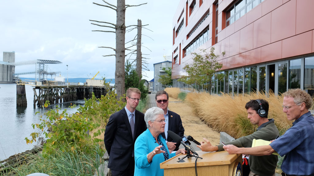 EPA Administrator Gina McCarthy gives a press conference outside the Center for Urban Waters in Tacoma, WA. U.S. Representatives Derek Kilmer (WA 6th District) and Denny Heck (WA 10th District) also spoke.