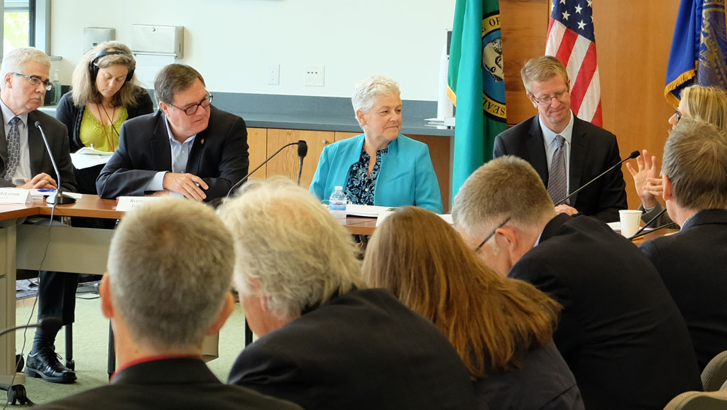 EPA Administrator Gina McCarthy (center) listens to remarks by Puget Sound Partnership Leadership Council Chair Martha Kongsgaard (far right). Others from left: Dennis McLerran, EPA Region 10 Administrator; U.S. Representative Denny Heck (WA 10th District); U.S. Representative Derek Kilmer (WA 6th District);