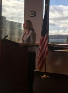 White House CEQ managing Director Christy Goldfuss speaking at a press conference in Seattle today.