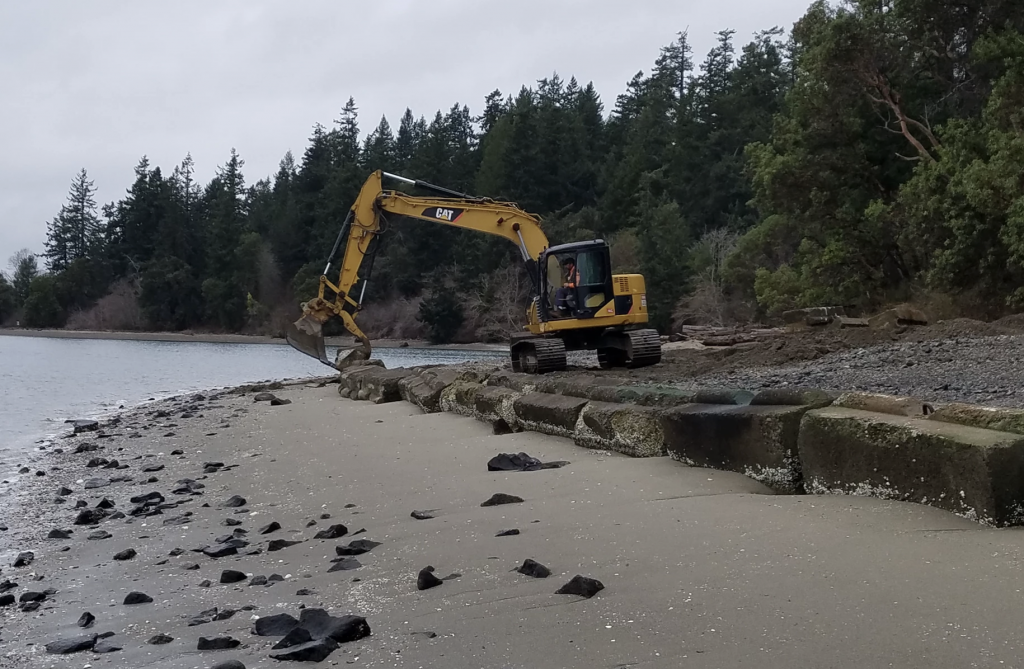 An excavator removes shoreline armoring in Puget Sound. Photo by Doris Small, Washington Department of Fish and Wildlife