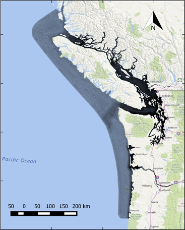 A map image showing the range of the Salish Sea Model. Photo courtesy of Pacific Northwest National Laboratory.